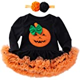 Riou Kinder Langarm Halloween Kostüm Top Set Baby Kleidung Set Infant Kleinkind Baby Mädchen Halloween Kürbis Bogen Party Kleid Kleidung Kleider (Schwarz, 80)