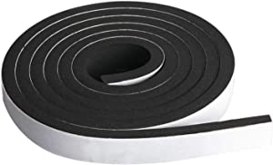 "Neoprene Foam Strip Roll by Dualplex, 1"" Wide x 10' Long x 1/4"" Thick, Weather Seal High Density Stripping with Adhesive Backing – Weather Strip Roll Insulation Foam Strips"