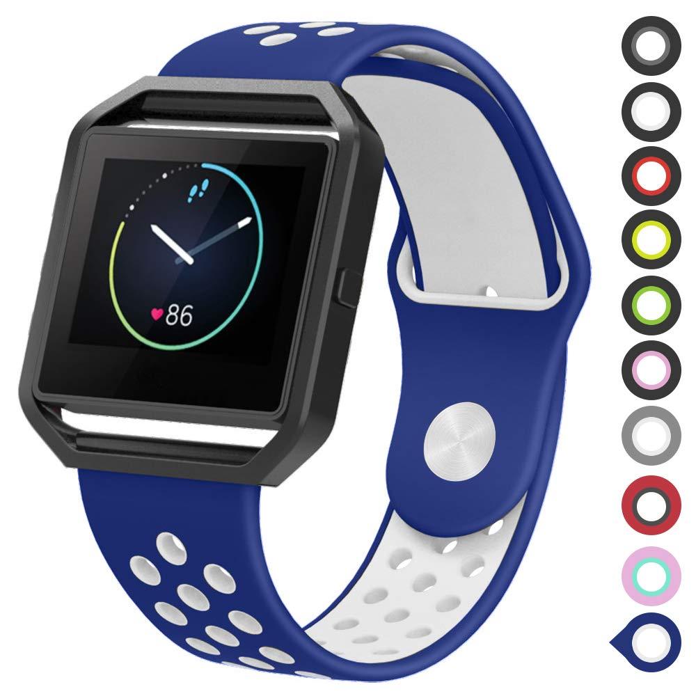 Malla Para Reloj Fitbit Blaze (azul Blanco, Talle L)