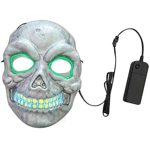 Amazon.com: El Wire Light Up Horrible Skull LED Flash Mask for ...