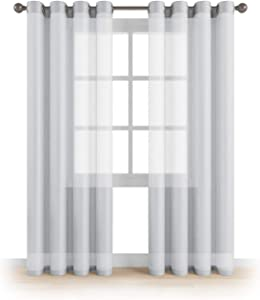 """MEMIAS Window Sheer Elegant Voile Curtains with Grommets for All Rooms Decoration, 2 Panels, Each Panel, 54"""" W x 63"""" L, Baby Silver"""