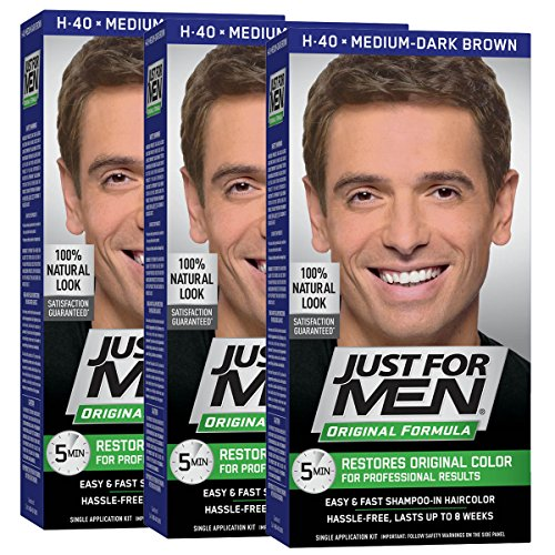 Just For Men Original Formula Men's Hair Color, Medium Dark Brown (Pack of 3), Medium-Dark Brown