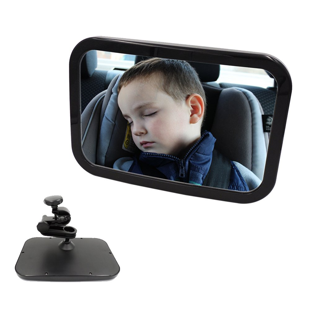 Strengthen Fixed Baby Car Mirror- Sturdy Bracket Mirror for Car Seat Rear Facing - Clearest and Most Stable Mirror View Infant in Rear Facing Car Seat With FREE Cleaning Cloth - Essential Car Seat Acc Mcdectech