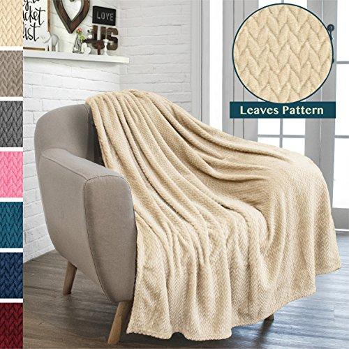 Blanket Silky Fleece (PAVILIA Luxury Soft Plush Latte Beige Throw Blanket for Sofa, Couch | Silky Velvet Fleece Chevron Pattern Throw | Cozy Lightweight Microfiber, Reversible Blanket | All Season Use | 50 x 60 Inches)