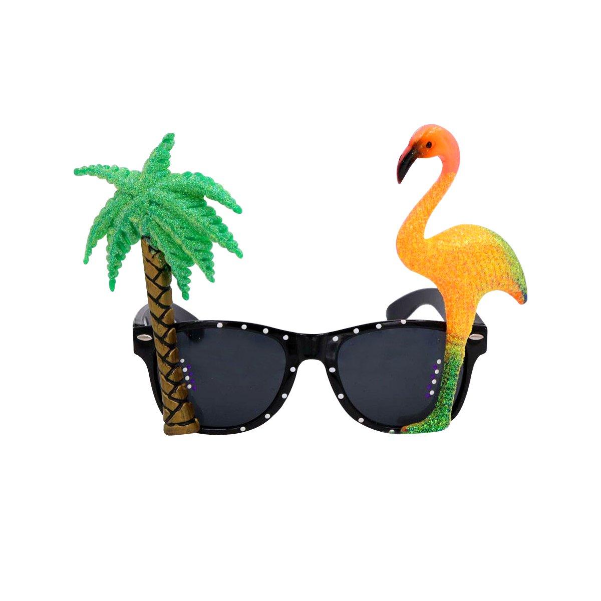 04afaa35e2 Bestoyard flamingo sunglasses palm tree sunglasses tropical hawaii luau  sunglasses for beach summer party toys games