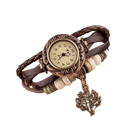 Nikgic 1pc Reloj de Pulsera de Estudiante Reloj de señora Vintage Lucky Tree Happy Tree Blessing Tabla de Pulsera de árbol (Marrón): Amazon.es: Relojes