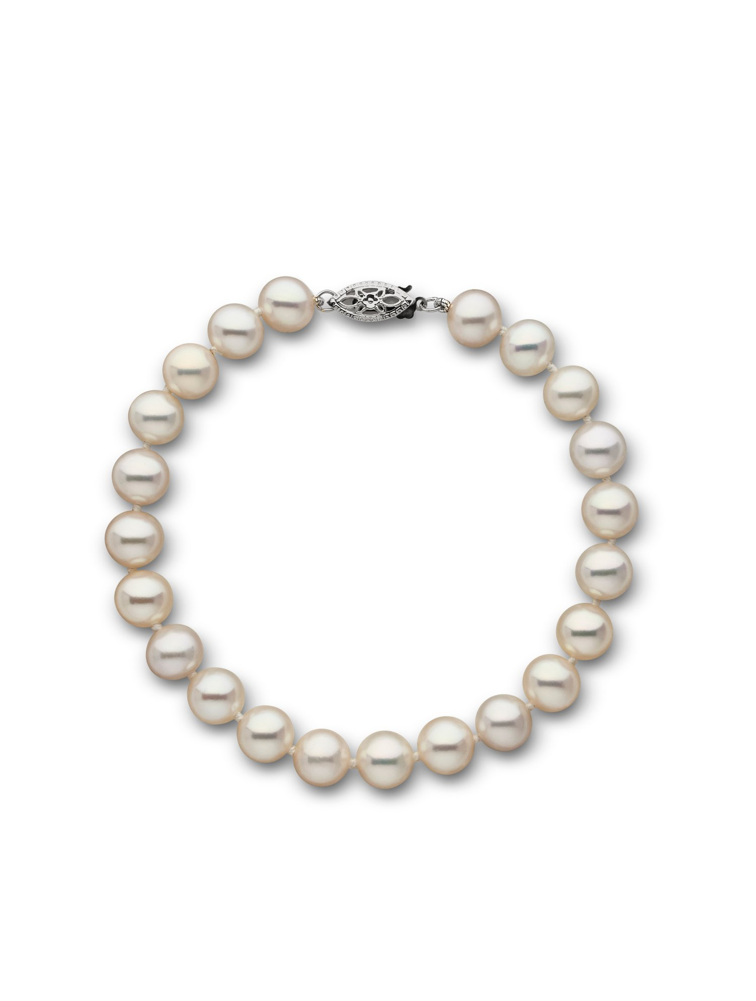 14k Freshwater Cultured Pearl Bracelet AAA Quality 7.5-8.0 mm 7.5'' White (White Gold) by Pearl Paradise
