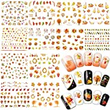 #4: Whaline 12 Sheets Autumn Fall Maple Leaves Nail Art Water Transfer Stickers Decals for Women Girls Kids Manicure DIY or Nail Salon