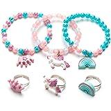Unicorn Bracelet Ring Set - Rainbow Bracelet Shiny Crown Bracelet for Toddler Girls - Little Girl Jewel Rings Set Girl…