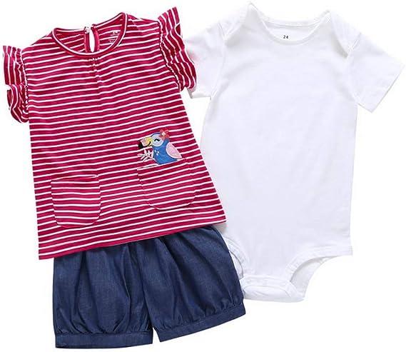 Pagliaccetti 3 Pezzi 0-24 Mesi Pantaloncini Odziezet Completini e Coordinati Estivi da Neonata di Cotone Magliette a Manica Corta a Fiore
