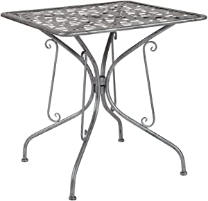 "Flash Furniture Agostina Series 27.5"" Square Antique Silver Indoor-Outdoor Steel Patio Table"