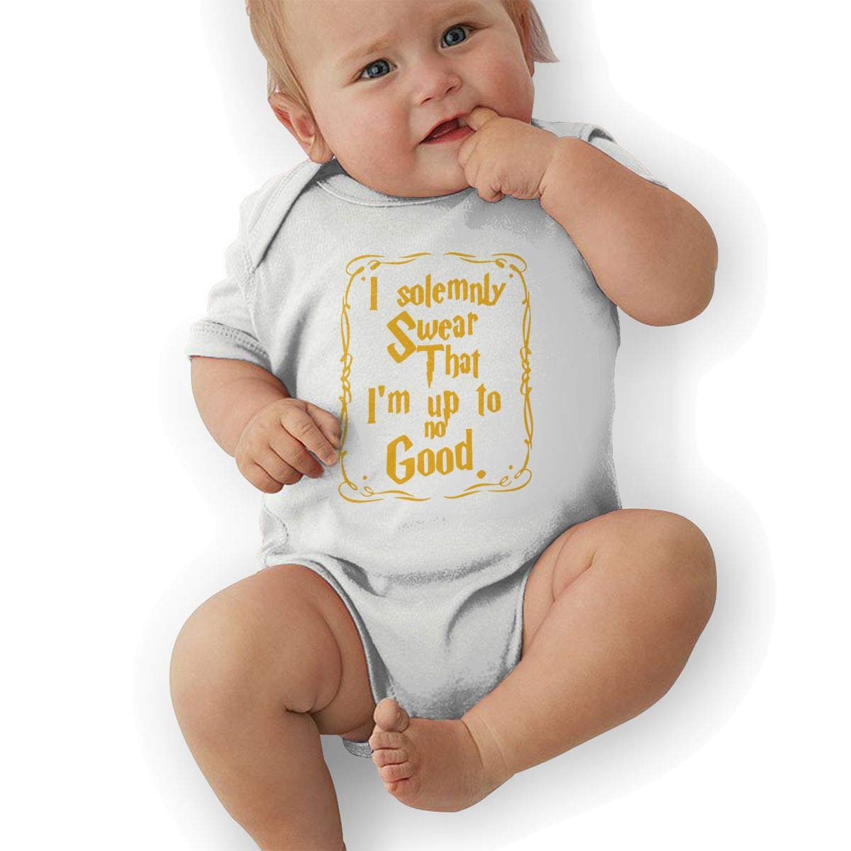 Im Up to No Good Baby Boys Girls Jumpsuits Short Sleeve Romper Bodysuit Bodysuit Jumpsuit Outfits White
