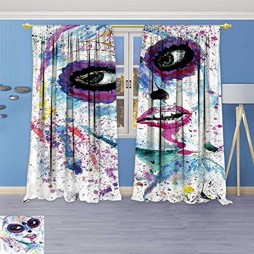 Philiphome Room Darkening Thermal Insulated Blackout Grommet Window Curtain,Grunge Halloween Lady with Sugar Skull Make Up Creepy Dead Face Gothic Woman,for Living Room -