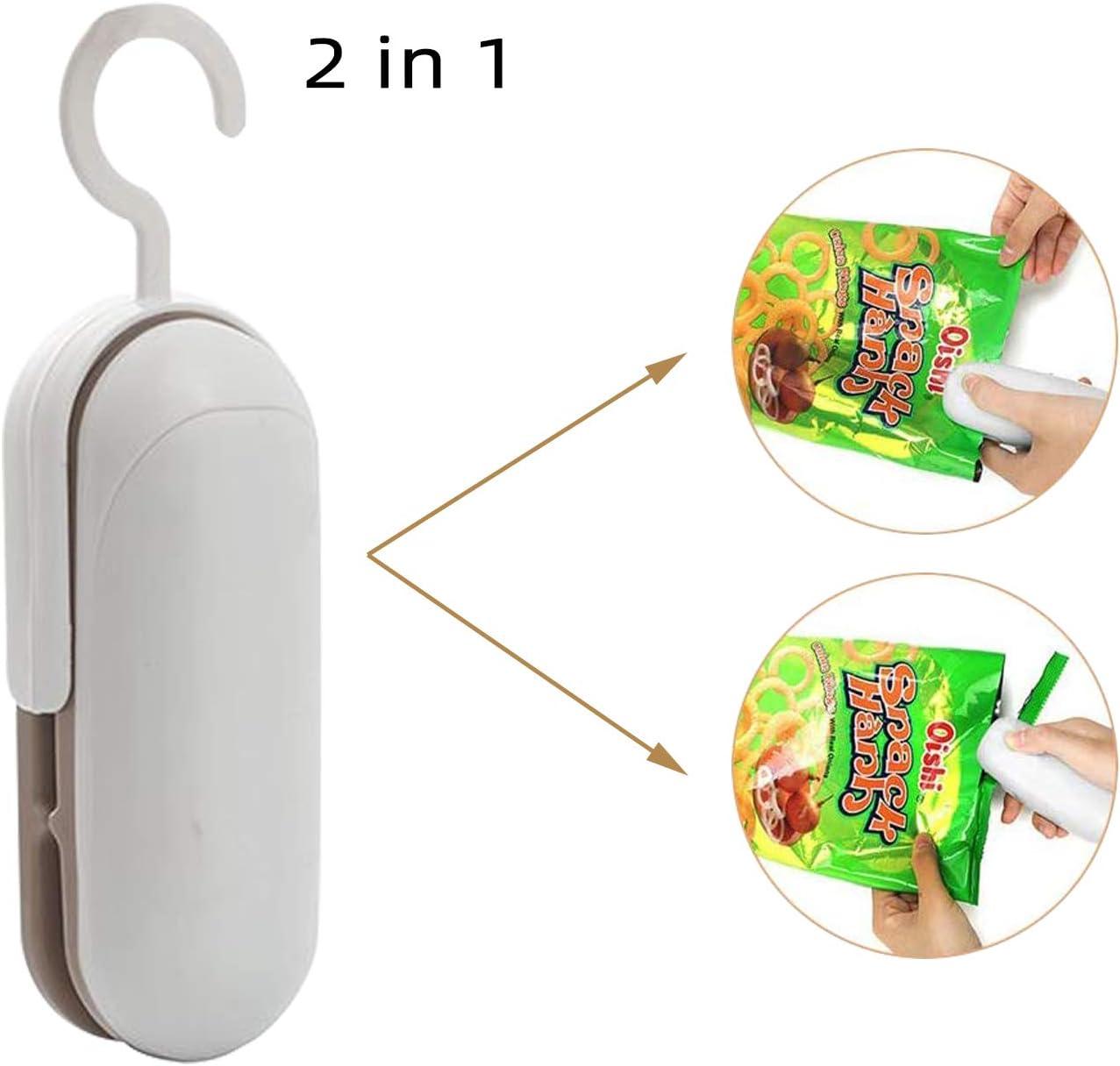 Mini Bag Sealer, Rlloy 2 in 1 Heat Sealer with Cutter,Handheld Portable Vacuum Sealers Snack Bag Resealer for Saving Freeze Vegetable Storage (Battery Not Included)