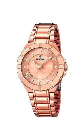 Festina F16728/1 - Reloj de Cuarzo para Mujer, con Correa de Acero Inoxidable, Color Dorado