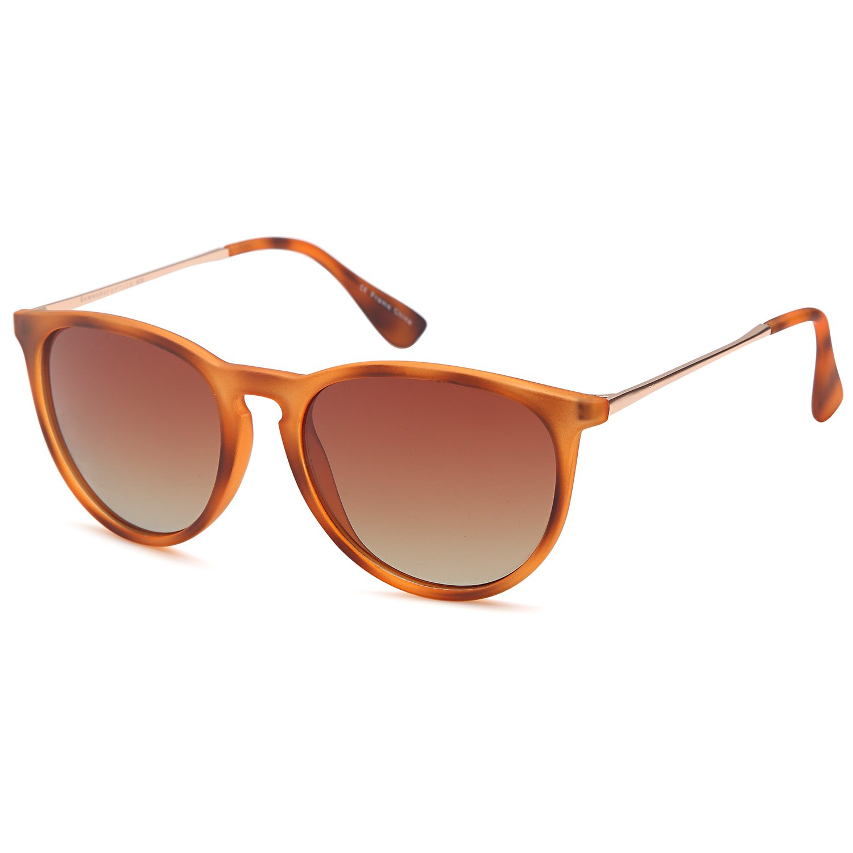 GAMMA RAY Polarized UV400 Vintage Retro Round Sunglasses - Gradient Brown Lens on Matte Havana Frame