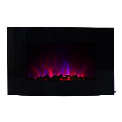 HOMCOM Chimenea Eléctrica Tipo Estufa de Pared con Efecto Llamas Mando a Distancia y Luz LED