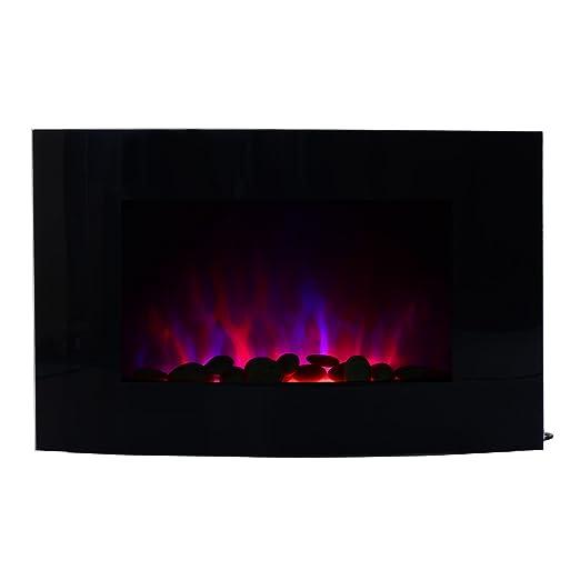 HOMCOM Chimenea Eléctrica Tipo Estufa de Pared con Efecto Llamas Mando a Distancia y Luz LED de 7 Colores 1000W/2000W 88.5x13.5x56cm: Amazon.es: Hogar