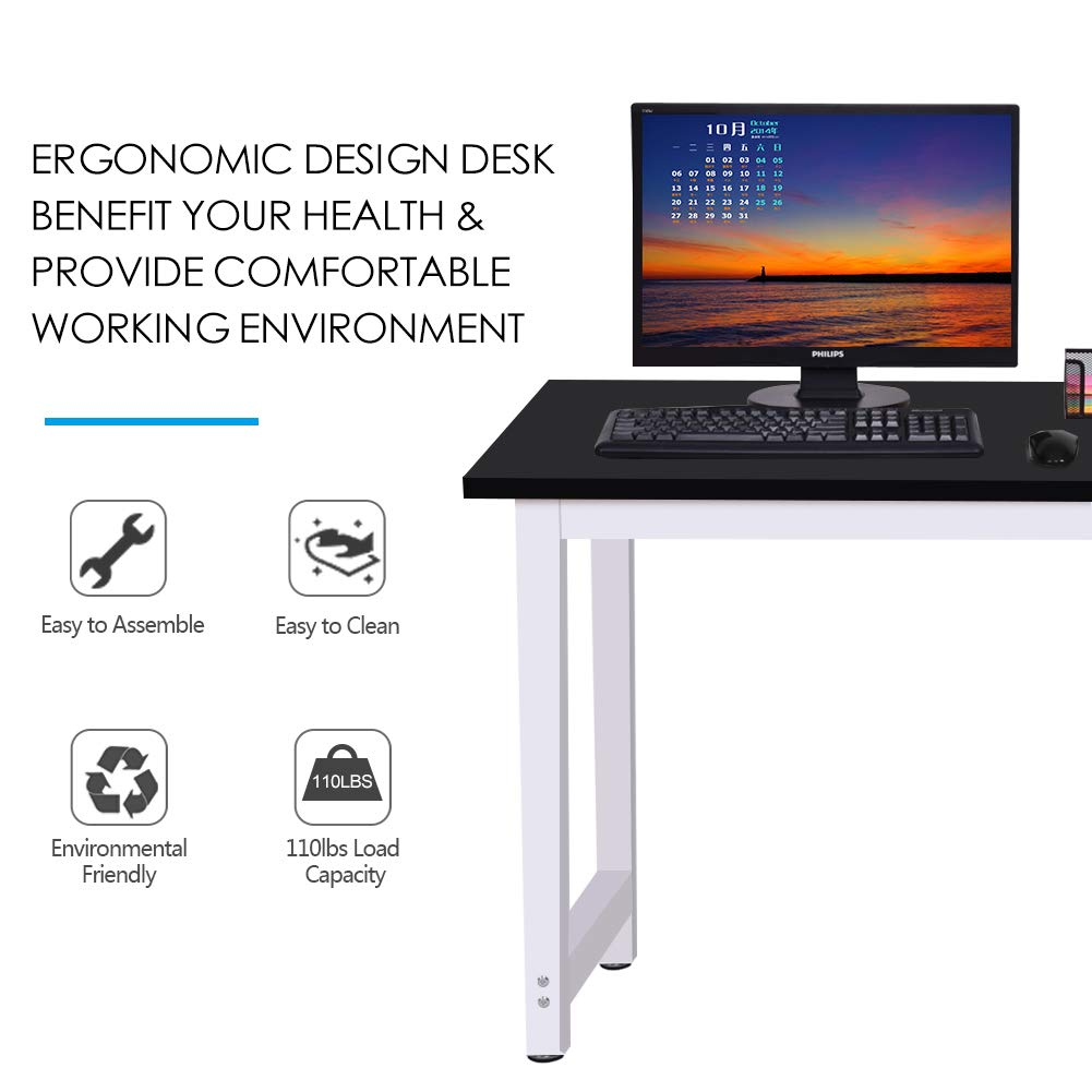 Toolsempire 47'' Office Computer Desk PC Laptop Dining Table Workstation Study Writing Desk for Home Office Furniture (Black) by Toolsempire (Image #4)