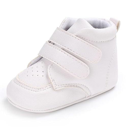 TRRAD Scarpe Neonato Unisex in Pelle Morbida - Ricamo a Forma di Cuore - Sneaker Antiscivolo (6-12 mesi, Rosa)