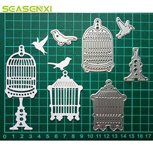 Arts Crafts 5Pcs Bird Cage Metal Cutting Dies Stencils for DIY Scrapbooking Photo Album Decorative Embossing DIY Paper Cards Wedding Decor - (Color: Light Green)