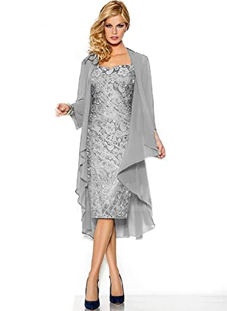 c083b775b9f1ac Meike Fashion Jacke für abendkleid bolero Chiffon Knie-lang Mutter  Ballklieder Cape Silbern EU46(