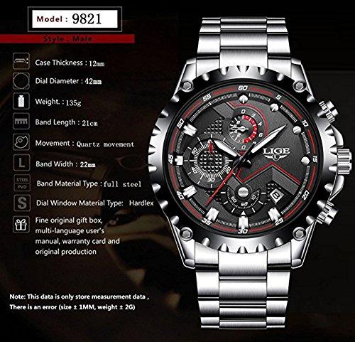 Watch Men Sport Quartz Clock Mens Watches Top Brand Luxury Full Steel Business Waterproof Watch by LIGE (Image #2)