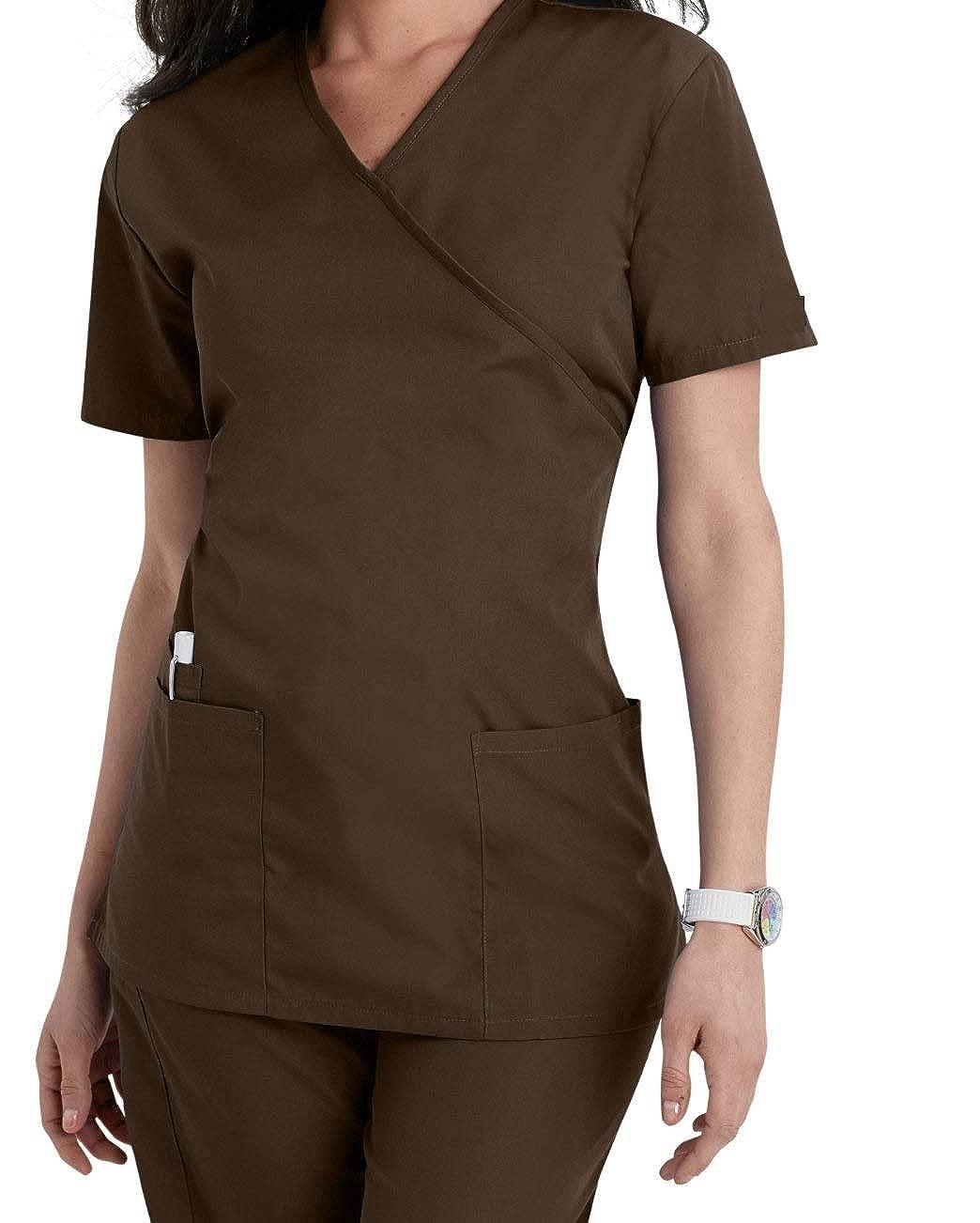 Damen Uniformen Schlupfkasack Gute Qualit/ät Mock Wrap Top 5 Farben