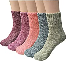 5 Pairs Womens Wool Socks Thick Knit Vintage Winter Warm Cozy Crew Socks Gifts (Multicolor 01c)