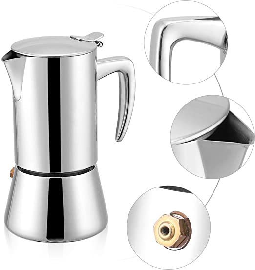 Stovetop Espresso Maker, 200 ml acero inoxidable Moka Pot Espresso Cafetera para Gas & Electric Stovetop: Amazon.es: Hogar