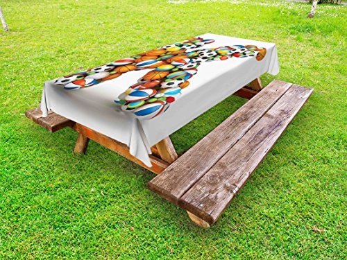 Ambesonne Letter K Outdoor Tablecloth, Alphabet Letter with Gaming Balls of Popular Sports Fun Initial Monogram Design, Decorative Washable Picnic Table Cloth, 58 X 104 Inches, Multicolor (Tablecloth Monogram)