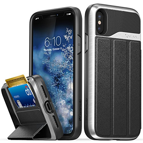iPhone X Wallet Case, Vena [vCommute][Military Grade Drop Protection] Flip Leather Cover Card Slot Holder with KickStand for Apple iPhone X / 10 (Silver / Black)