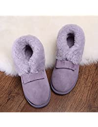 Women 's shoes winter snow boots cowhide wool bow thickening warm hairy short boots ( Color : Purple , Size : US:6.5\UK:5.5\EUR:38 )