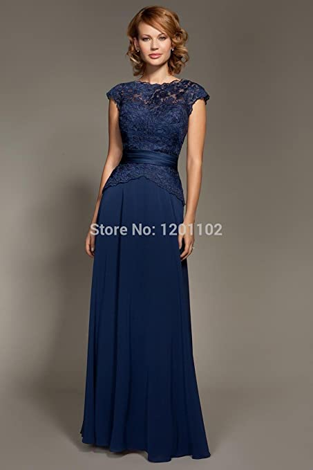 JeanGray Vestido De Fiesta 2015 Hot&Sexy Dark Navy Blue Lace Cap Sleeve Floor-Length Evenig