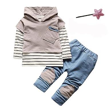 c50aed738263a Sunenjoy Enfants Tout-Petits Bébé Garçon Filles 2 PCs Set Costumes Capuche  Rayé Shirt Tops