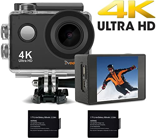 DveeTech Action Camera,4K 16MP Built-in WiFi Underwater Photography Sports Camera,170 Degree Wide Angle Waterproof Camera