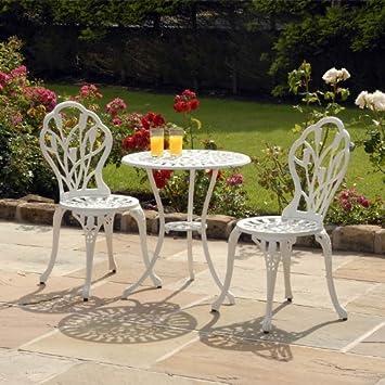 White Cast Aluminium Tulip Bistro Set with Seat Pads: Amazon ...