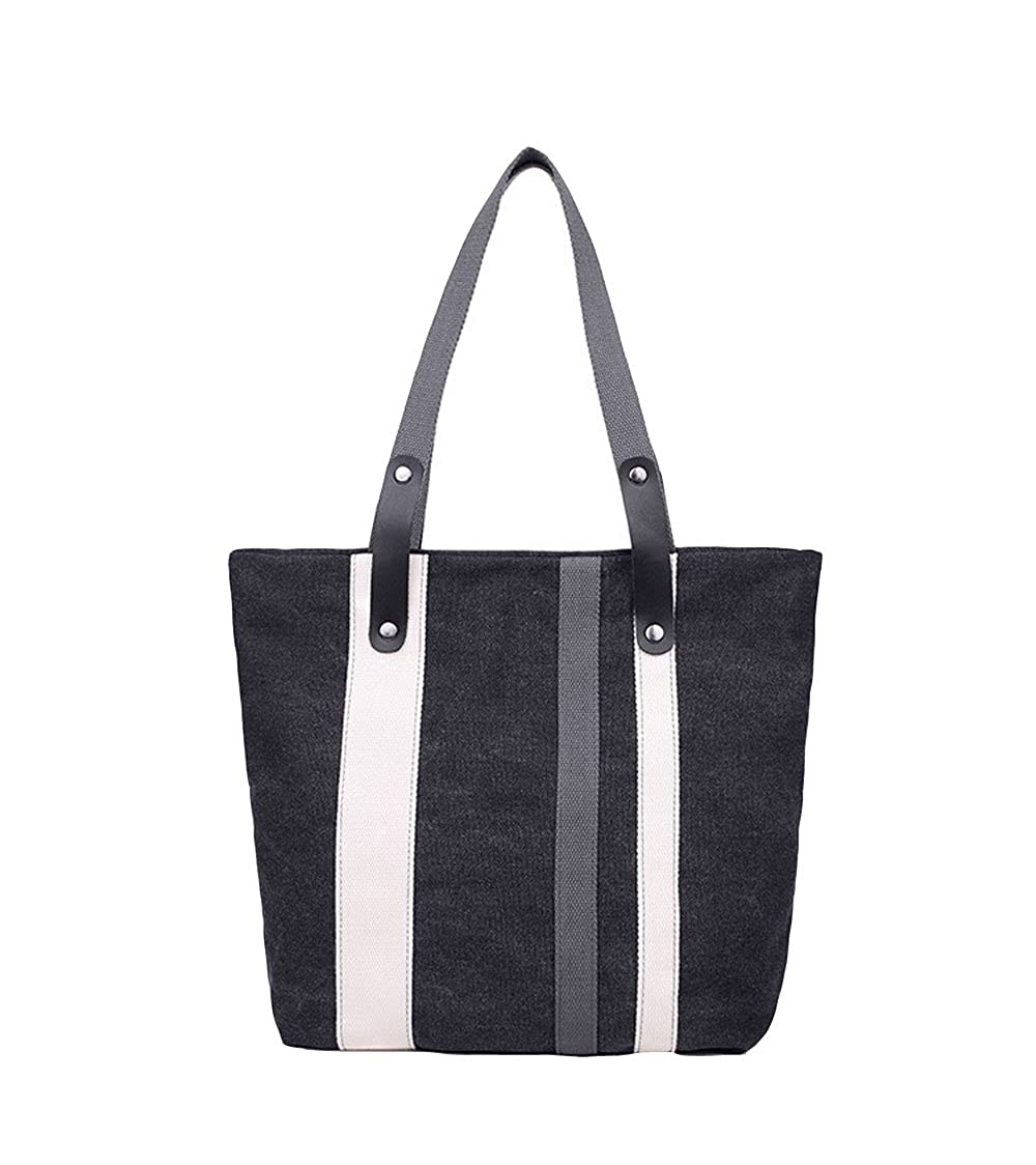 ecfae6086d3 Flowertree Faux Leather White Stripe Detailed Canvas Tote Shoulder ...