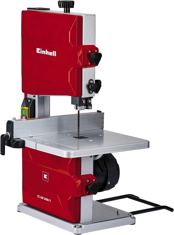 Einhell 4308018 TC-SB 200/1 Sierra de Cinta, potencia de 250 W, ralentí 1.400min -1, velocidad de hoja 900 m/min, 6 dientes, Gris/Rojo