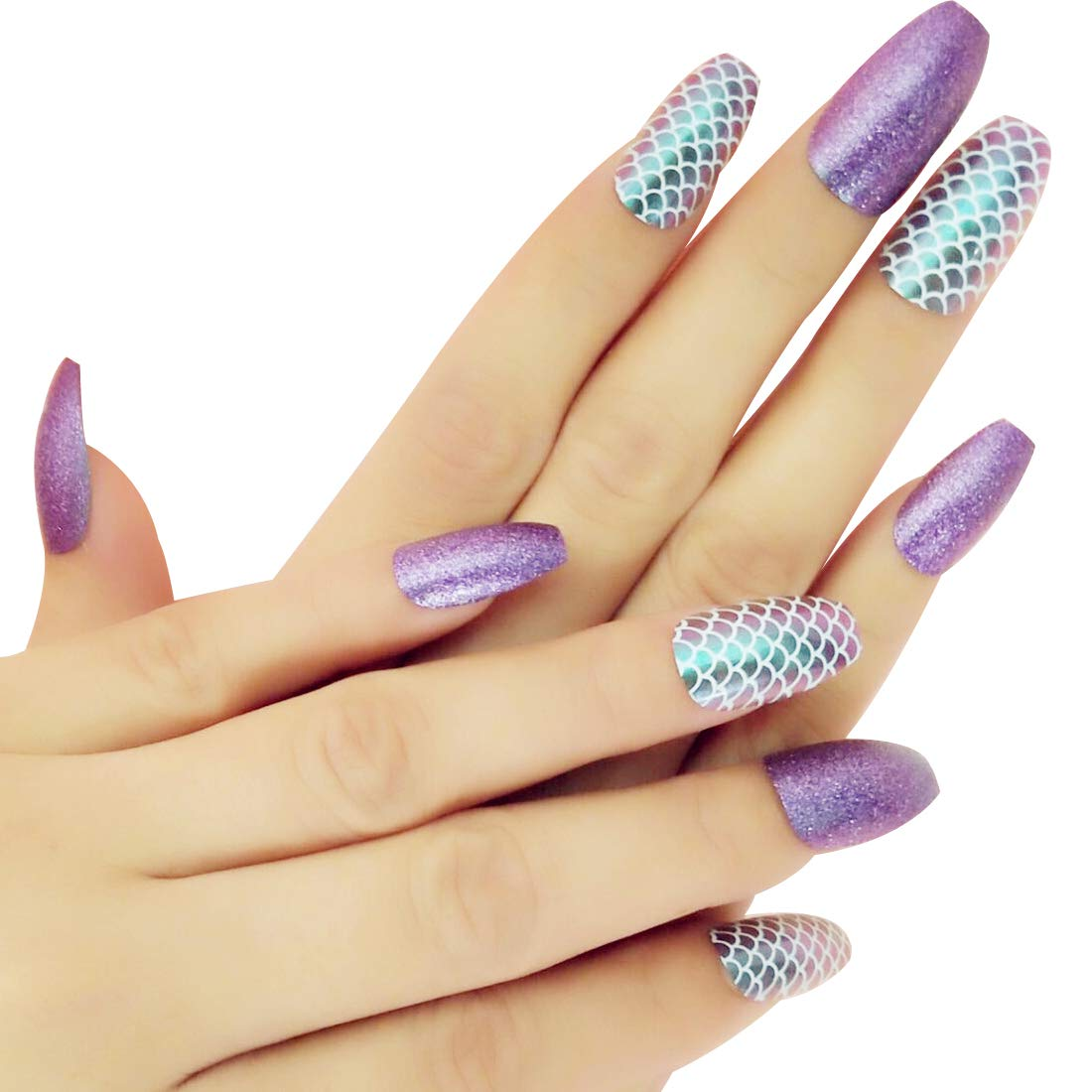 Ballerina Fake Nail Tips Designed with Purple Glitter & Mermaid Fish-scale Coffin Nails for Women Nail Art