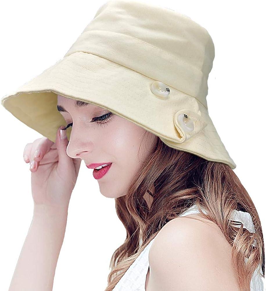 Sombrero de Mujer Sombrero Pesca del Sol Sombrero Playa Gorra de Verano Plegable De ala Ancha Protección UV