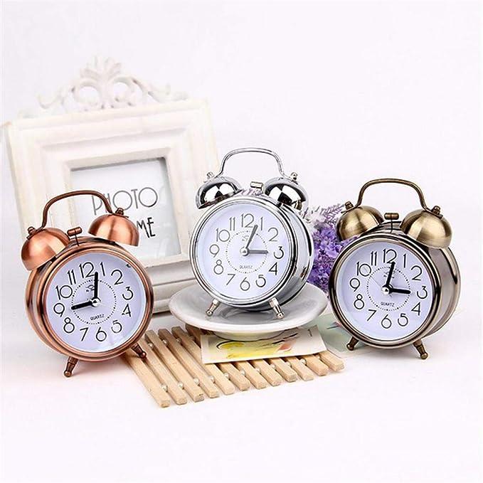 Lucky Family Timbre de Metal Despertador, Despertador silencioso Vintage 3 Pulgadas Retro Alarm Clock Reloj Antiguo Estudiante silencioso
