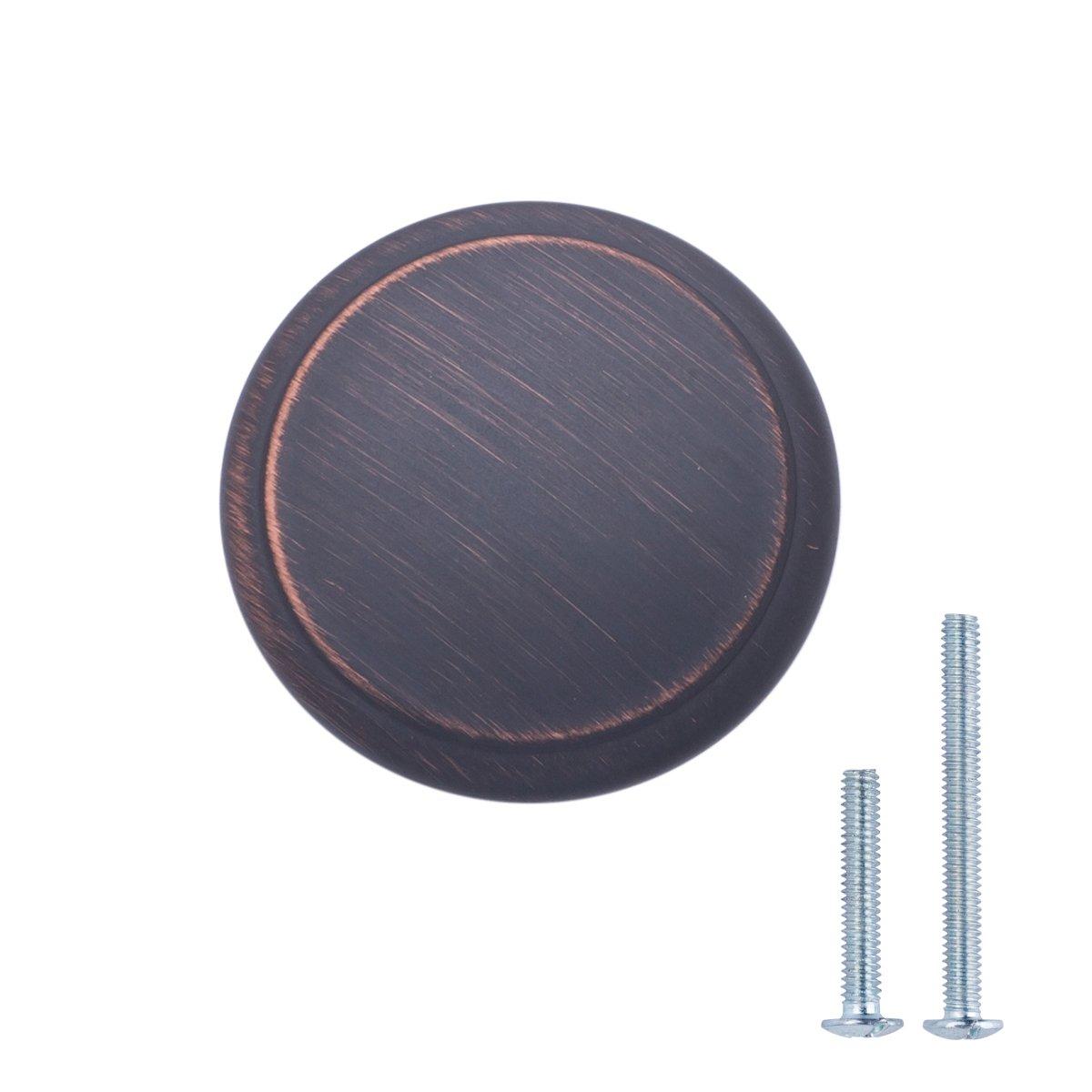 AmazonBasics Modern Top Ring Cabinet Knob, 1.16'' Diameter, Oil Rubbed Bronze, 25-Pack