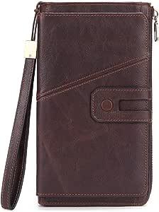 Leather Wristlet Wallet Clutch/Wristlet Wallet Leather/Wallets for Men with Zipper Compartment/Money Clip Wallets for Men/Travel Wallet phone wallet Brown