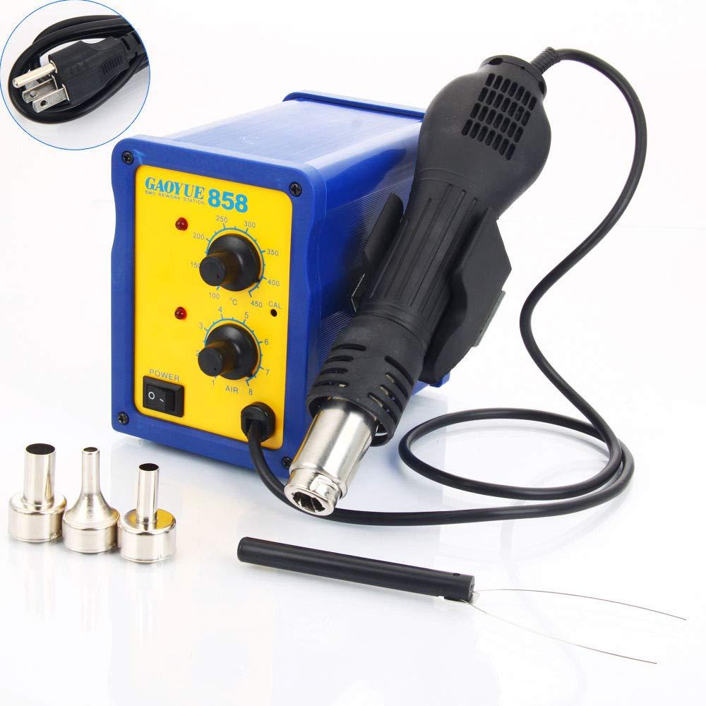 Marketworldcup 858 SMD Electric Rework Soldering Station Iron Kit w Hot Air Gun LED Light 110V