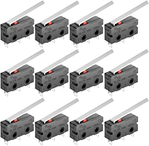 MXRS SPDT 1NO 1NC 5.5cm Hinge Lever Momentary Push Button Micro Limit Switch AC 5A 125V 250V 3 Pins 12 Pcs