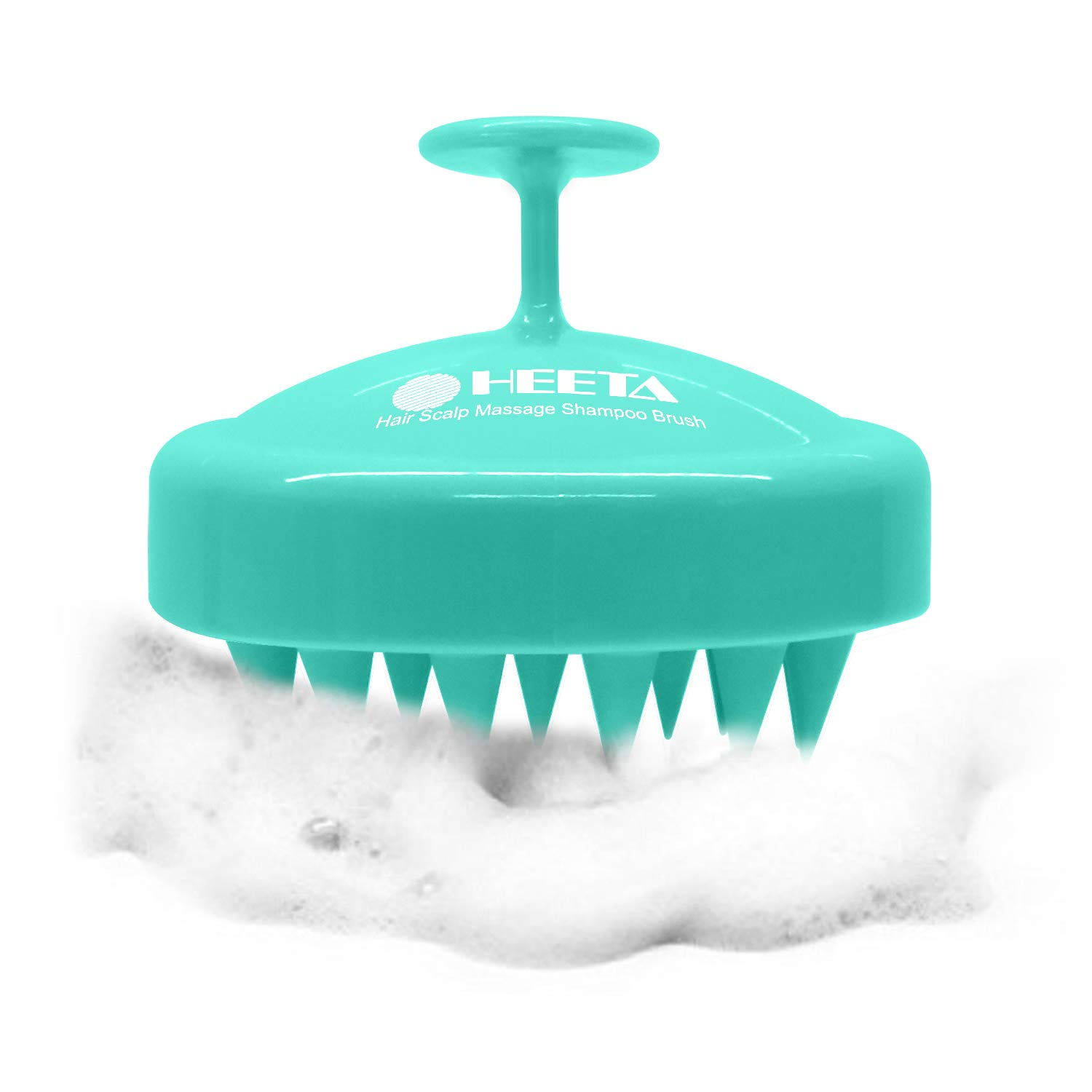 Heeta Hair Scalp Massager, Wet and Dry Shampoo Brush Scalp Massage Brush with Soft Silicone Rubber Hair Brush for Women, Men, Pet (Green)