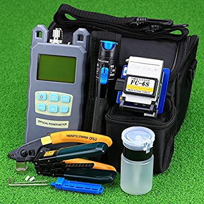 FTTH Fiber Optic Tool Kit with Fiber Fibra Optica Power Meter and 1mW Visual Fault Locator and Cable Cutter Stripper FC-6S Fiber Cleaver