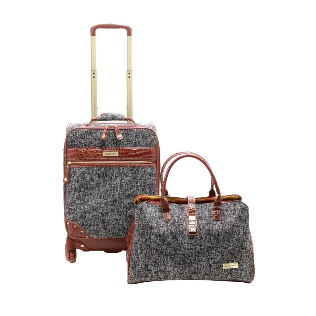 Samantha Brown Tweed 2-Piece 21'' Spinner and Shoulder Bag Luggage Set - Black