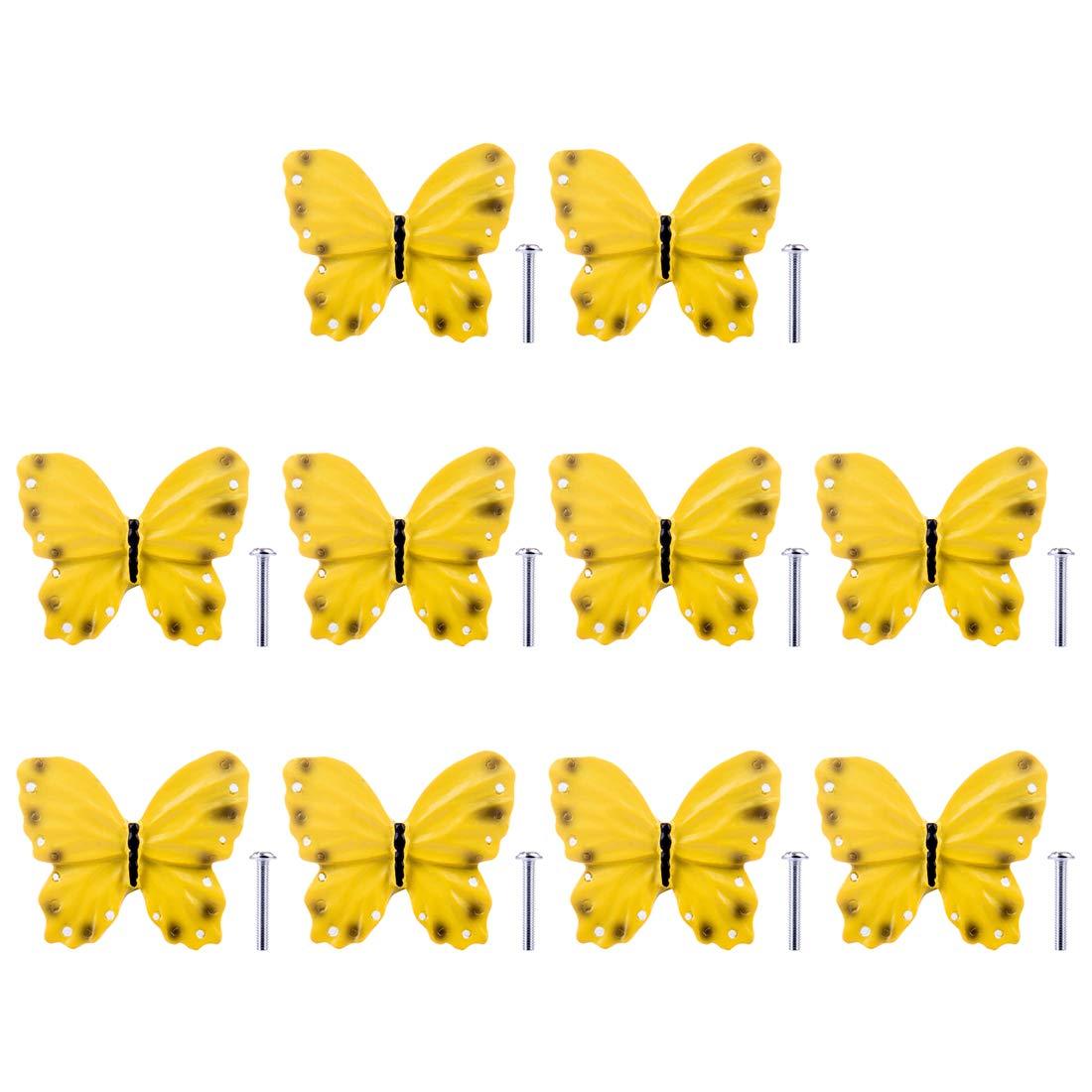 POXL Pomelli per Mobili Bambini Set di 10 Pomelli Manopola Farfalla Manopola Bambini Pomello per Cassetto//Armadi//Armadio